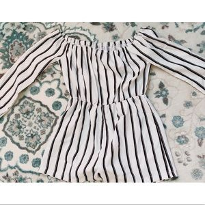 Missguided Black & White Striped Romper